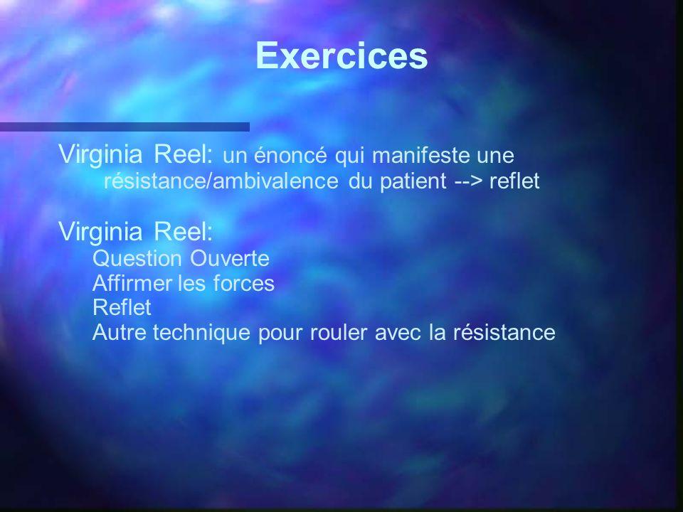 Exercices Virginia Reel: un énoncé qui manifeste une résistance/ambivalence du patient --> reflet Virginia Reel: Question Ouverte Affirmer les forces
