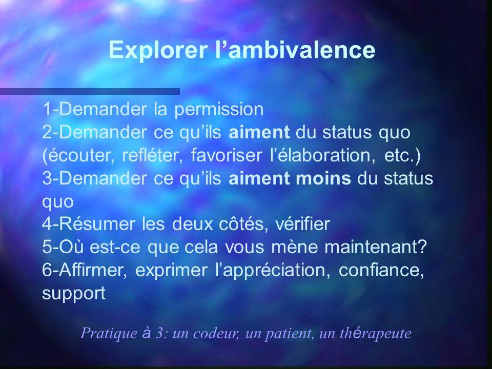 Explorer lambivalence 1-Demander la permission 2-Demander ce quils aiment du status quo (écouter, refléter, favoriser lélaboration, etc.) 3-Demander c