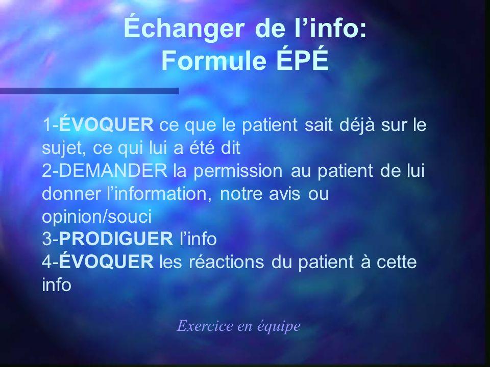 Échanger de linfo: Formule ÉPÉ 1-ÉVOQUER ce que le patient sait déjà sur le sujet, ce qui lui a été dit 2-DEMANDER la permission au patient de lui don