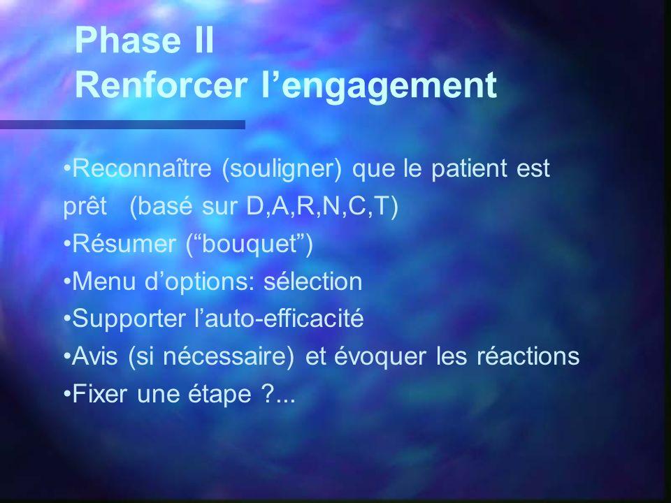 Phase II Renforcer lengagement Reconnaître (souligner) que le patient est prêt (basé sur D,A,R,N,C,T) Résumer (bouquet) Menu doptions: sélection Suppo