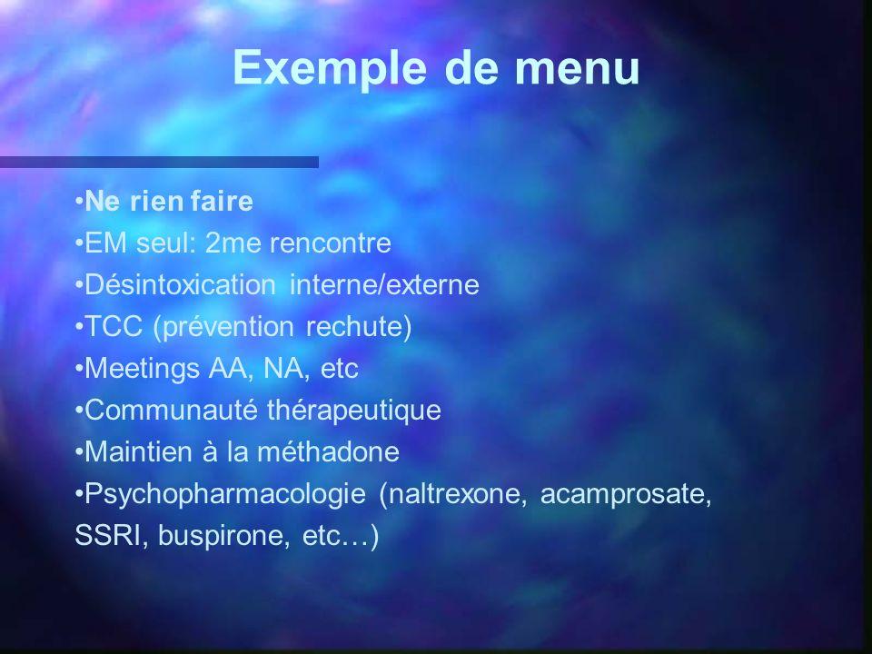 Exemple de menu Ne rien faire EM seul: 2me rencontre Désintoxication interne/externe TCC (prévention rechute) Meetings AA, NA, etc Communauté thérapeu