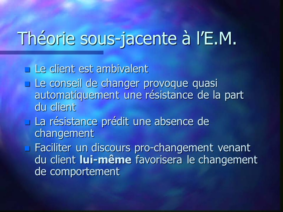 Exercice: entretien initial