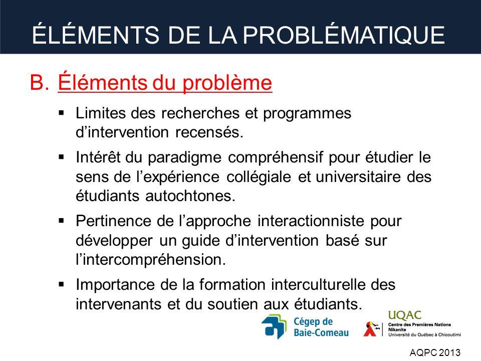B.Éléments du problème Limites des recherches et programmes dintervention recensés.