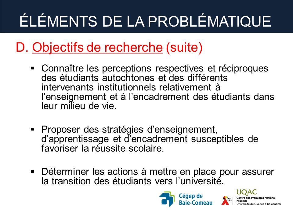 D. Objectifs de recherche (suite) Connaître les perceptions respectives et réciproques des étudiants autochtones et des différents intervenants instit