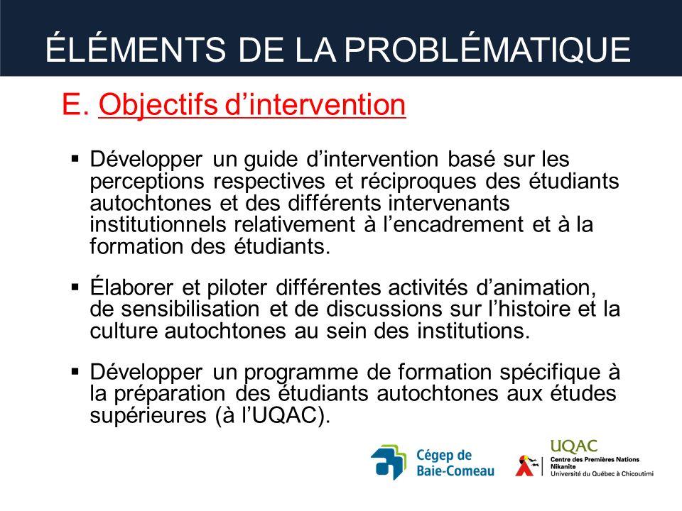 E. Objectifs dintervention Développer un guide dintervention basé sur les perceptions respectives et réciproques des étudiants autochtones et des diff