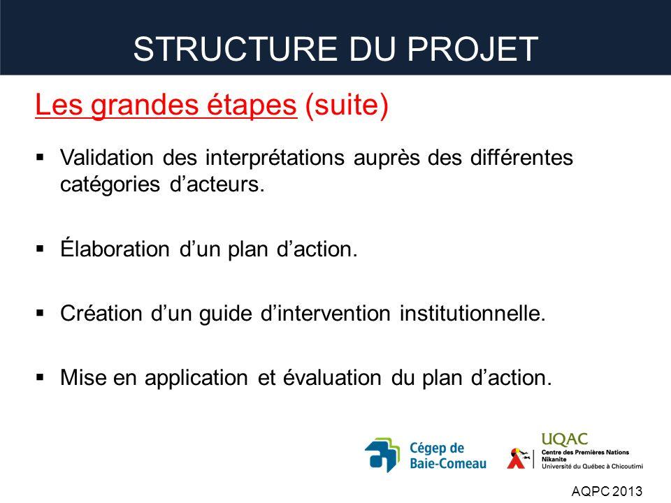 Les grandes étapes (suite) Validation des interprétations auprès des différentes catégories dacteurs.