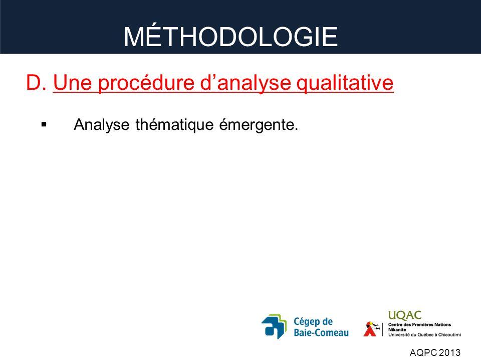 D. Une procédure danalyse qualitative Analyse thématique émergente. AQPC 2013 MÉTHODOLOGIE