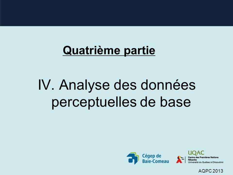 Quatrième partie IV. Analyse des données perceptuelles de base AQPC 2013