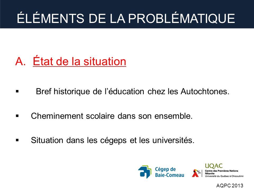 ÉLÉMENTS DE LA PROBLÉMATIQUE A.État de la situation Bref historique de léducation chez les Autochtones.