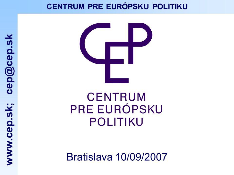 www.cep.sk ; cep@cep.sk CENTRUM PRE EURÓPSKU POLITIKU CEP Centrum pre európsku politiku – CEP (Centre pour la politique européenne) est une organisation à buts non-lucratifs fondée en 1997 CEP a pour but daccroître le niveau dinformations des citoyens sur lEurope à travers des activités éducatives, des publications, des conférences et séminaires