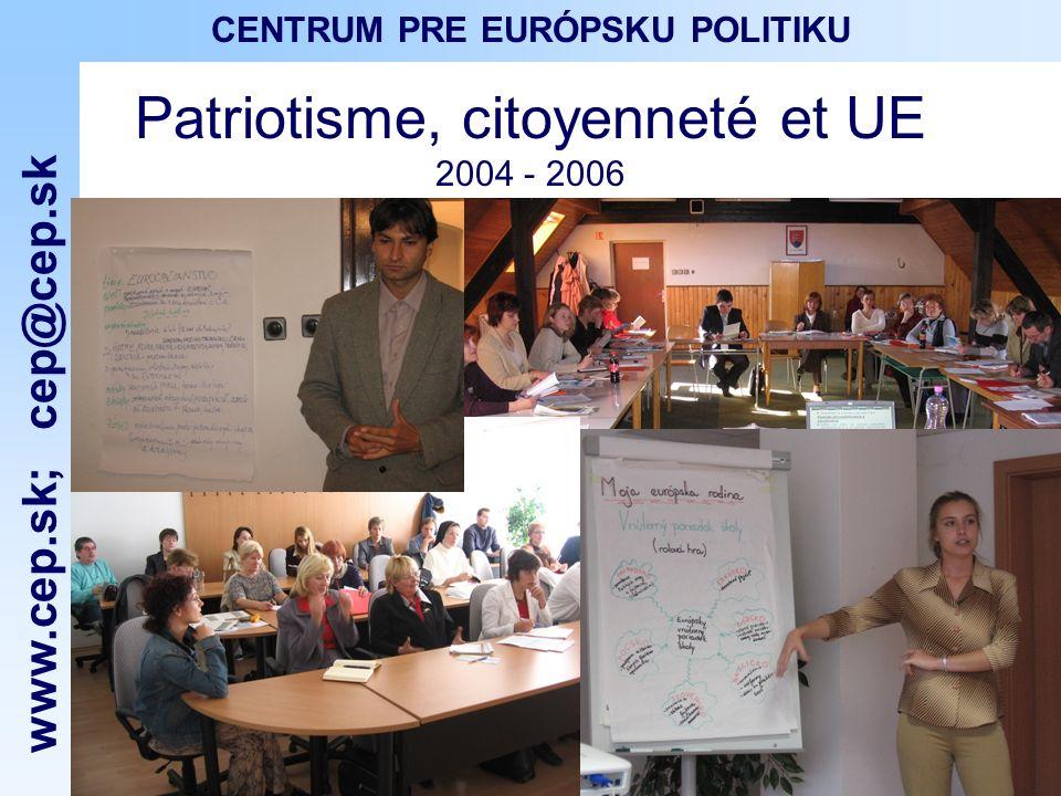 www.cep.sk ; cep@cep.sk CENTRUM PRE EURÓPSKU POLITIKU Patriotisme, citoyenneté et UE 2004 - 2006