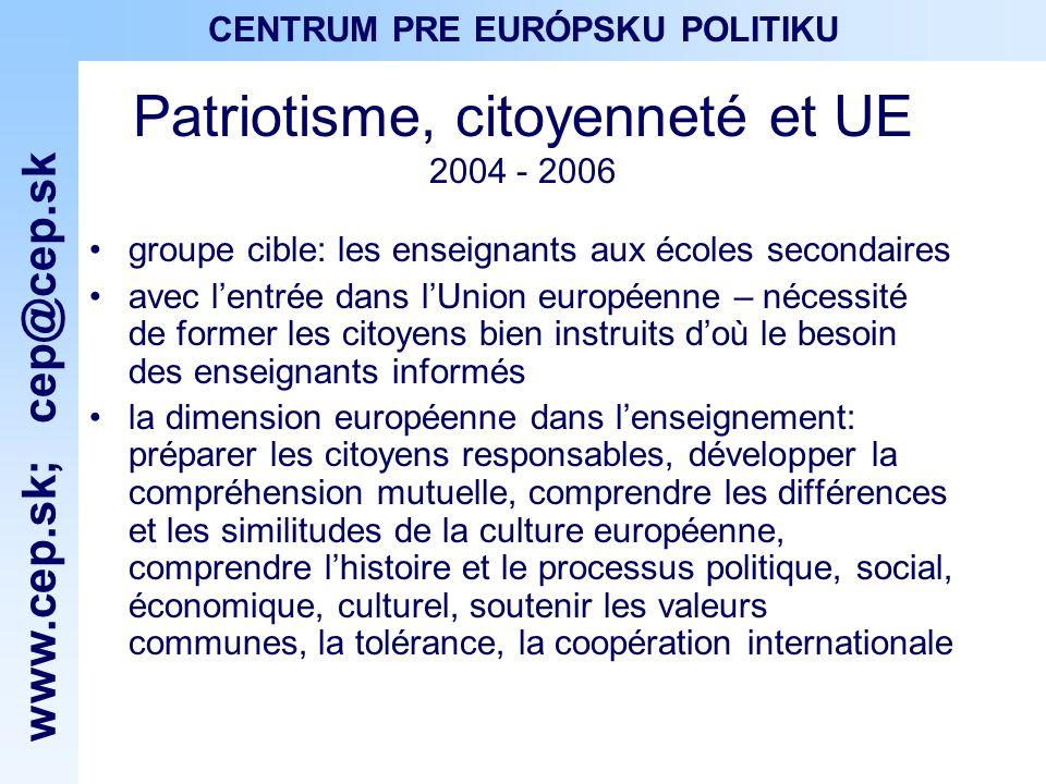 www.cep.sk ; cep@cep.sk CENTRUM PRE EURÓPSKU POLITIKU Patriotisme, citoyenneté et UE 2004 - 2006 groupe cible: les enseignants aux écoles secondaires avec lentrée dans lUnion européenne – nécessité de former les citoyens bien instruits doù le besoin des enseignants informés la dimension européenne dans lenseignement: préparer les citoyens responsables, développer la compréhension mutuelle, comprendre les différences et les similitudes de la culture européenne, comprendre lhistoire et le processus politique, social, économique, culturel, soutenir les valeurs communes, la tolérance, la coopération internationale