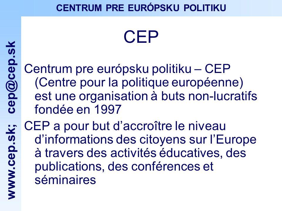 www.cep.sk ; cep@cep.sk CENTRUM PRE EURÓPSKU POLITIKU Activités
