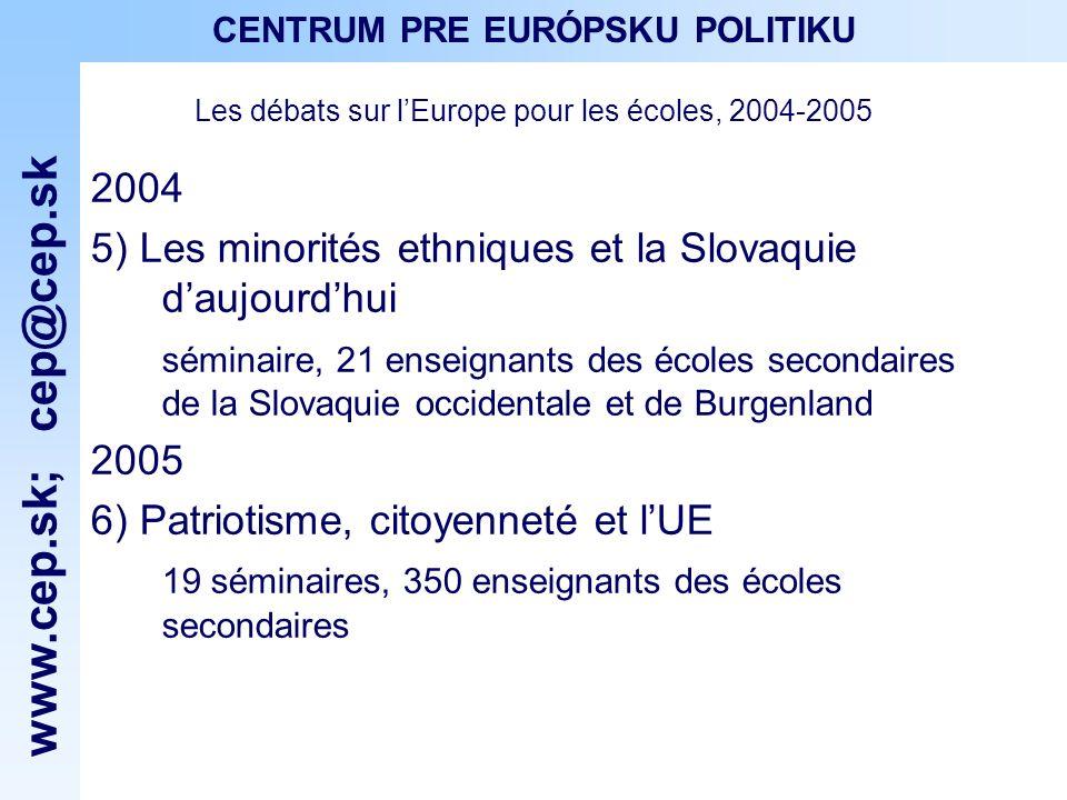 www.cep.sk ; cep@cep.sk CENTRUM PRE EURÓPSKU POLITIKU Les débats sur lEurope pour les écoles, 2006 2006 7) Notre histoire à travers des yeux des autres séminaire, 22 enseignants des écoles secondaires de la Slovaquie occidentale et de Burgenland 8) LUnion européenne aujourdhui 10 séminaires, 213 enseignants