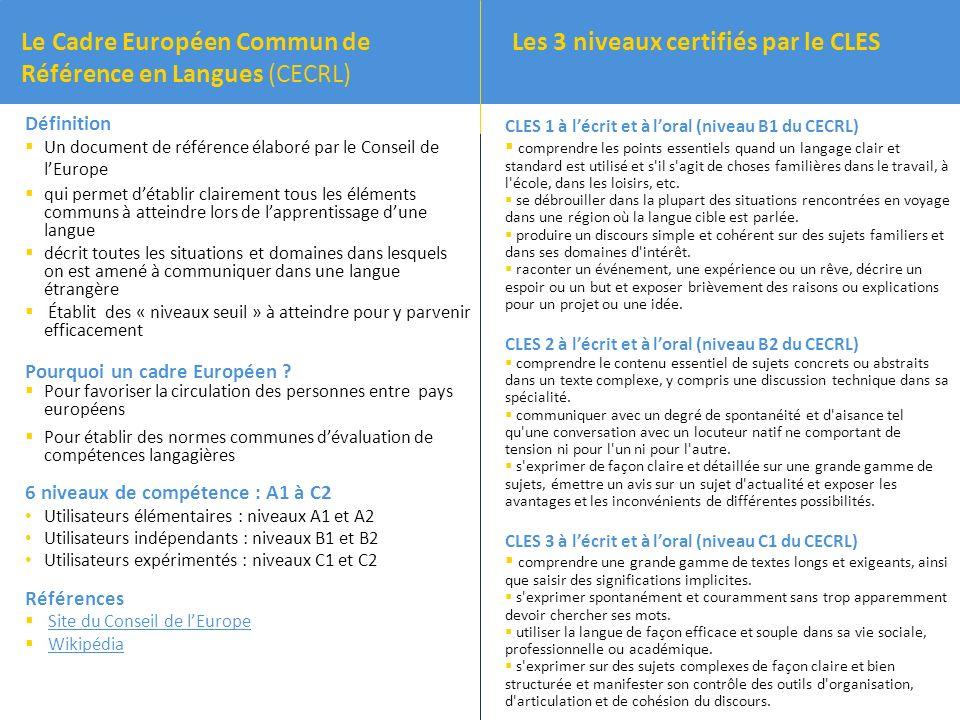 CLES 1 à lécrit et à loral (niveau B1 du CECRL) comprendre les points essentiels quand un langage clair et standard est utilisé et s il s agit de choses familières dans le travail, à l école, dans les loisirs, etc.