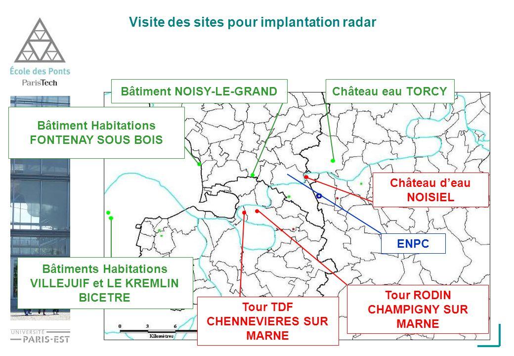 Visite des sites pour implantation radar ENPC Tour TDF CHENNEVIERES SUR MARNE Château eau TORCYBâtiment NOISY-LE-GRAND Bâtiments Habitations VILLEJUIF et LE KREMLIN BICETRE Tour RODIN CHAMPIGNY SUR MARNE Château deau NOISIEL Bâtiment Habitations FONTENAY SOUS BOIS