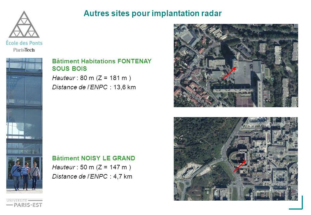 Autres sites pour implantation radar Bâtiment Habitations FONTENAY SOUS BOIS Hauteur : 80 m (Z = 181 m ) Distance de lENPC : 13,6 km Bâtiment NOISY LE GRAND Hauteur : 50 m (Z = 147 m ) Distance de lENPC : 4,7 km