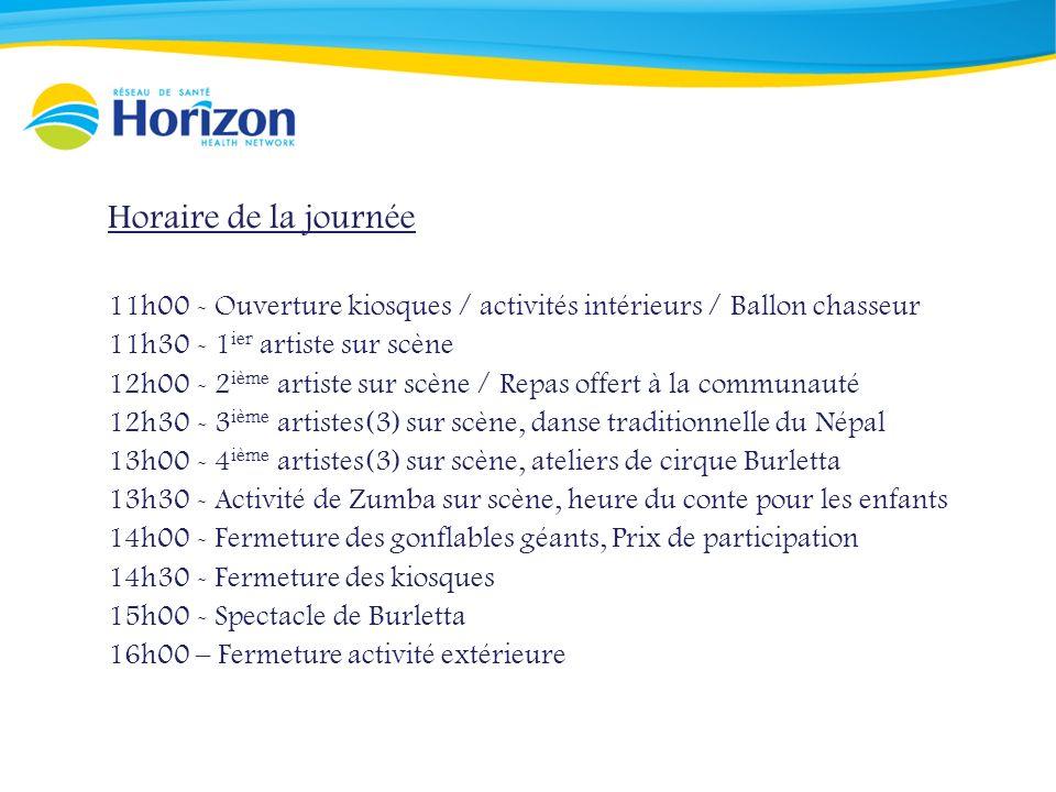 Horaire de la journée 11h00 - Ouverture kiosques / activités intérieurs / Ballon chasseur 11h30 - 1 ier artiste sur scène 12h00 - 2 ième artiste sur s