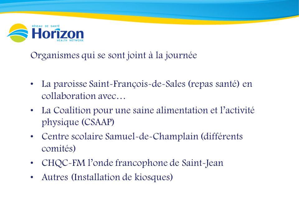 Organismes qui se sont joint à la journée La paroisse Saint-François-de-Sales (repas santé) en collaboration avec… La Coalition pour une saine alimentation et lactivité physique (CSAAP) Centre scolaire Samuel-de-Champlain (différents comités) CHQC-FM londe francophone de Saint-Jean Autres (Installation de kiosques)