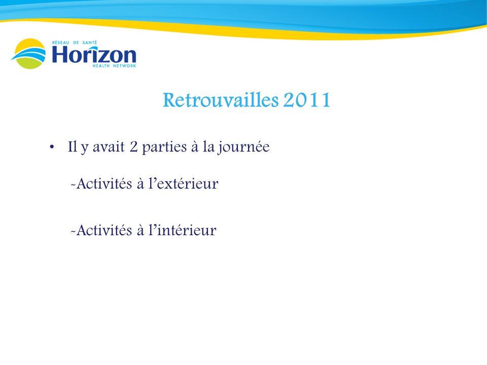 Retrouvailles 2011 Il y avait 2 parties à la journée -Activités à lextérieur -Activités à lintérieur