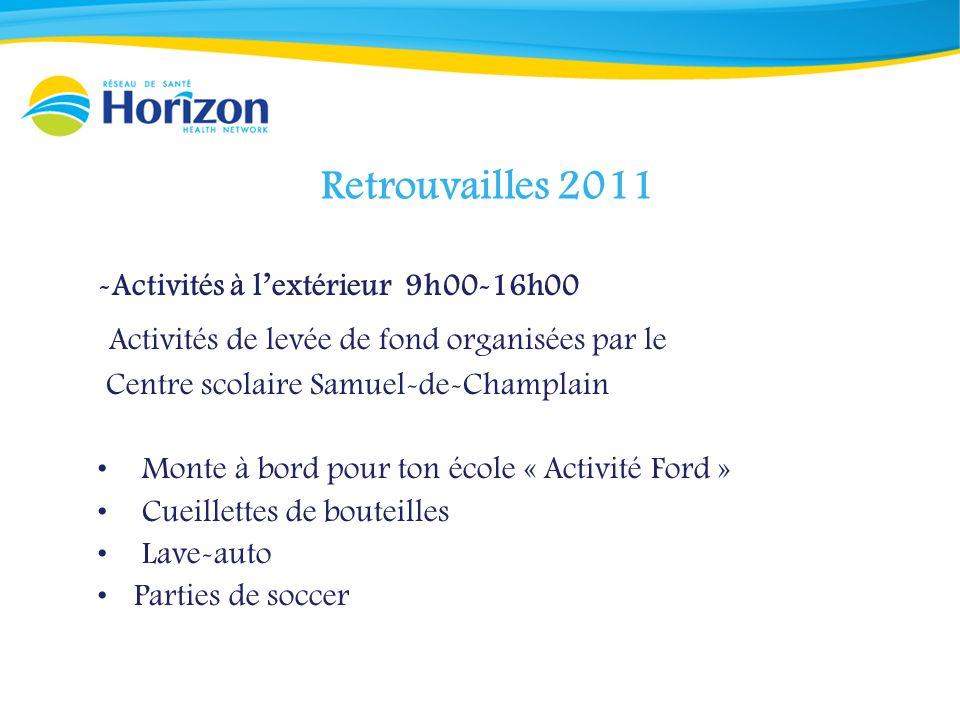 Retrouvailles 2011 -Activités à lextérieur 9h00-16h00 Activités de levée de fond organisées par le Centre scolaire Samuel-de-Champlain Monte à bord po