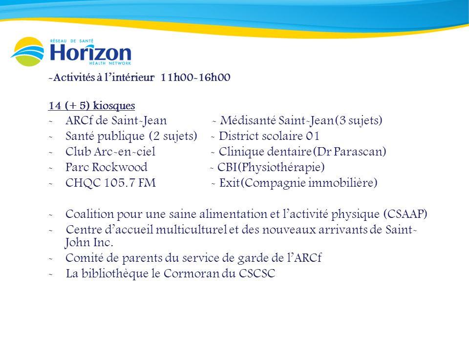 -Activités à lintérieur 11h00-16h00 14 (+ 5) kiosques -ARCf de Saint-Jean - Médisanté Saint-Jean(3 sujets) -Santé publique (2 sujets) - District scolaire 01 -Club Arc-en-ciel - Clinique dentaire(Dr Parascan) -Parc Rockwood - CBI(Physiothérapie) -CHQC 105.7 FM - Exit(Compagnie immobilière) -Coalition pour une saine alimentation et lactivité physique (CSAAP) - Centre daccueil multiculturel et des nouveaux arrivants de Saint- John Inc.