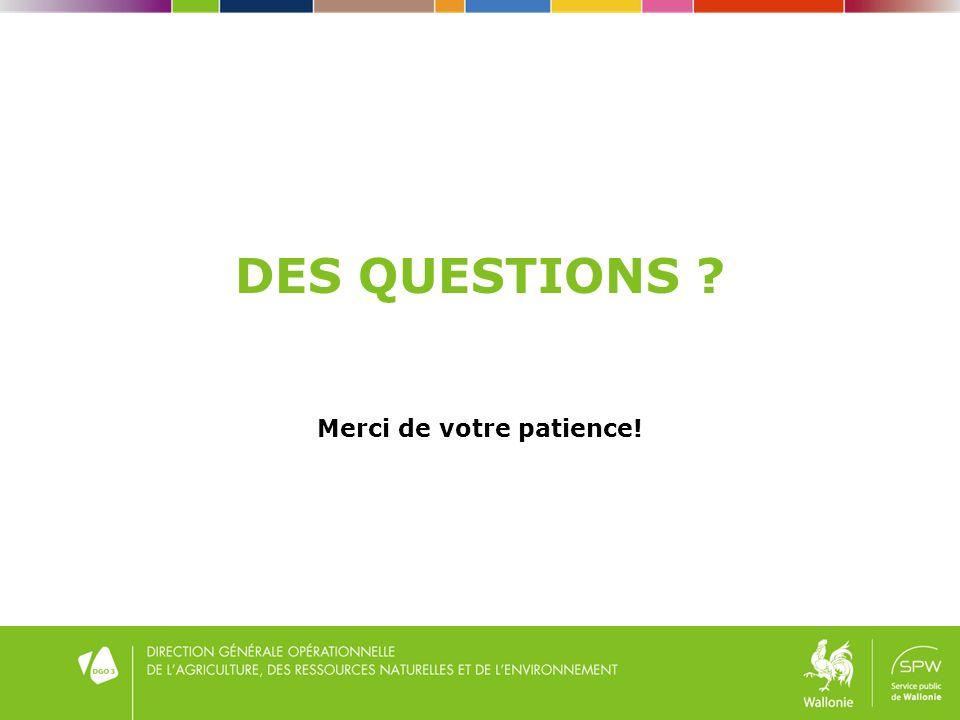 DES QUESTIONS Merci de votre patience!