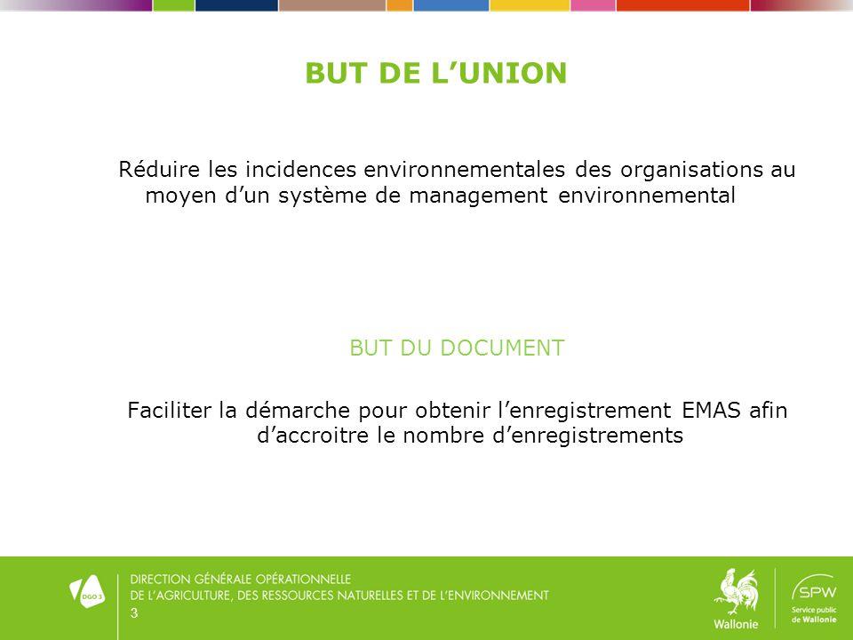 BUT DE LUNION Réduire les incidences environnementales des organisations au moyen dun système de management environnemental BUT DU DOCUMENT Faciliter la démarche pour obtenir lenregistrement EMAS afin daccroitre le nombre denregistrements 3