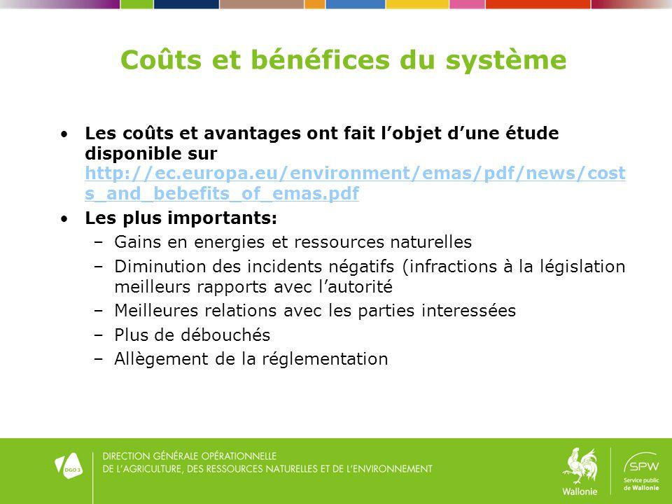 Coûts et bénéfices du système Les coûts et avantages ont fait lobjet dune étude disponible sur http://ec.europa.eu/environment/emas/pdf/news/cost s_and_bebefits_of_emas.pdf http://ec.europa.eu/environment/emas/pdf/news/cost s_and_bebefits_of_emas.pdf Les plus importants: –Gains en energies et ressources naturelles –Diminution des incidents négatifs (infractions à la législation meilleurs rapports avec lautorité –Meilleures relations avec les parties interessées –Plus de débouchés –Allègement de la réglementation