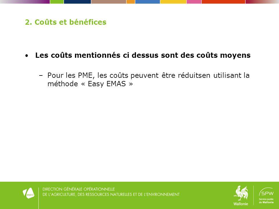 2. Coûts et bénéfices Les coûts mentionnés ci dessus sont des coûts moyens –Pour les PME, les coûts peuvent être réduitsen utilisant la méthode « Easy