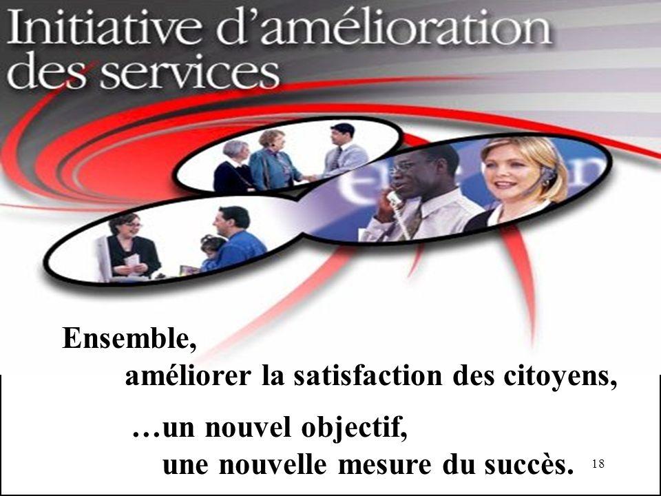 18 Ensemble, améliorer la satisfaction des citoyens, …un nouvel objectif, une nouvelle mesure du succès.