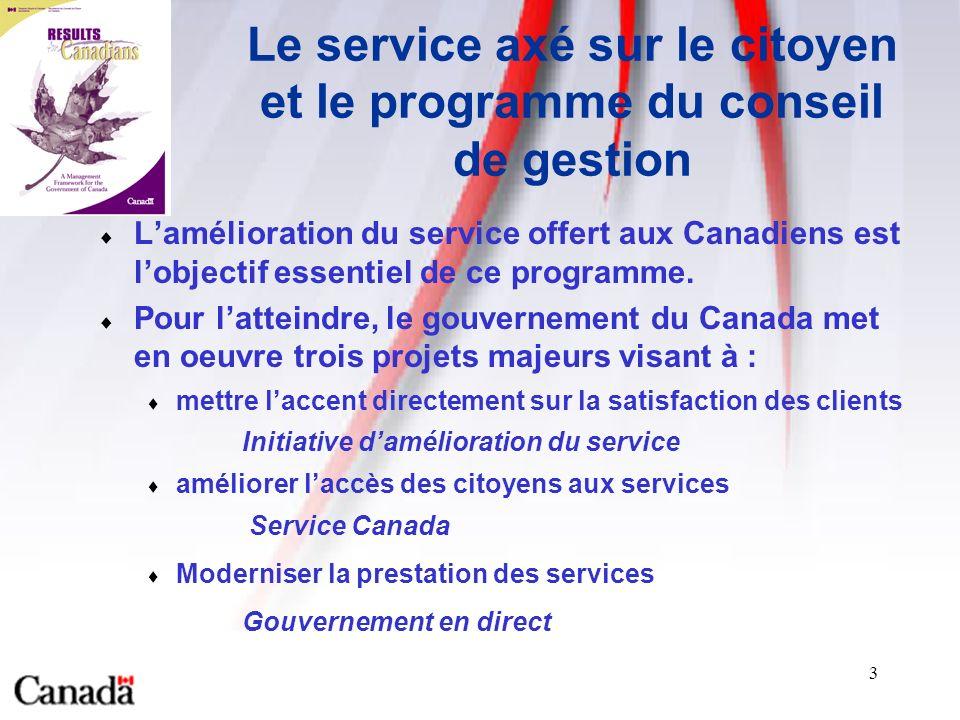 3 Le service axé sur le citoyen et le programme du conseil de gestion Lamélioration du service offert aux Canadiens est lobjectif essentiel de ce programme.