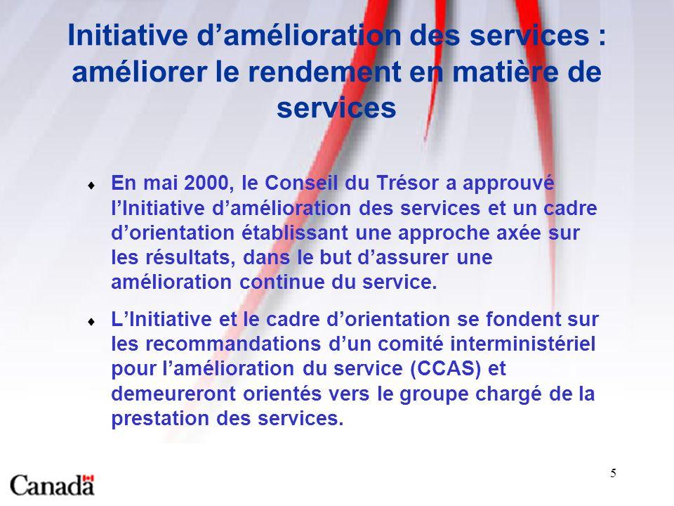 5 Initiative damélioration des services : améliorer le rendement en matière de services En mai 2000, le Conseil du Trésor a approuvé lInitiative damélioration des services et un cadre dorientation établissant une approche axée sur les résultats, dans le but dassurer une amélioration continue du service.