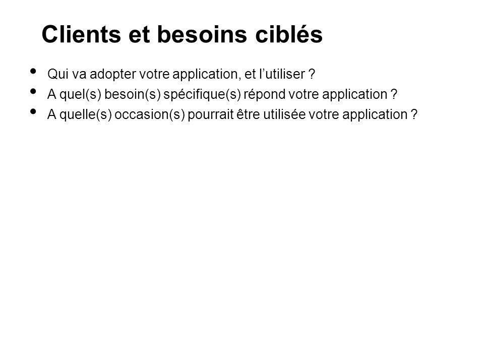 Clients et besoins ciblés Qui va adopter votre application, et lutiliser .