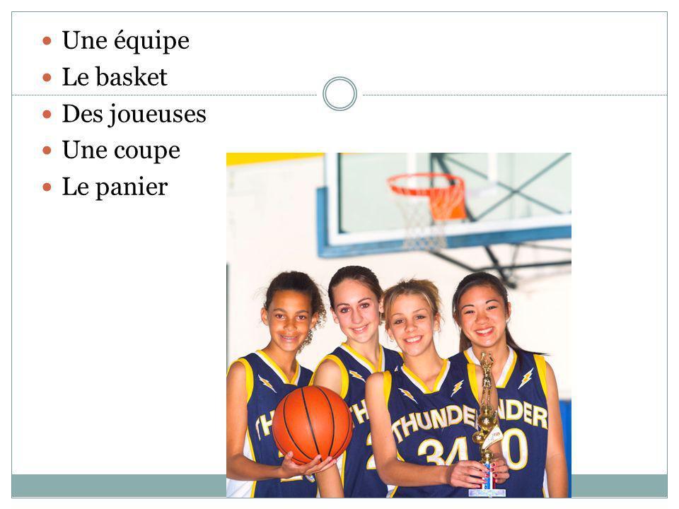 Une équipe Le basket Des joueuses Une coupe Le panier