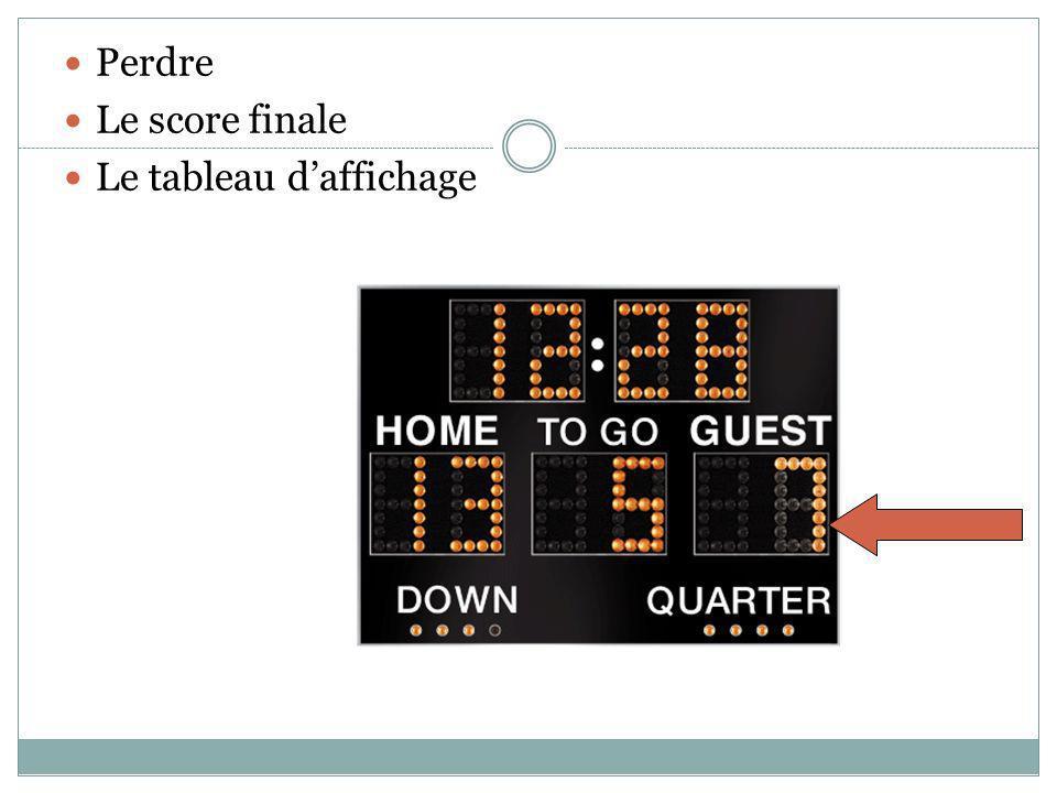 Perdre Le score finale Le tableau daffichage