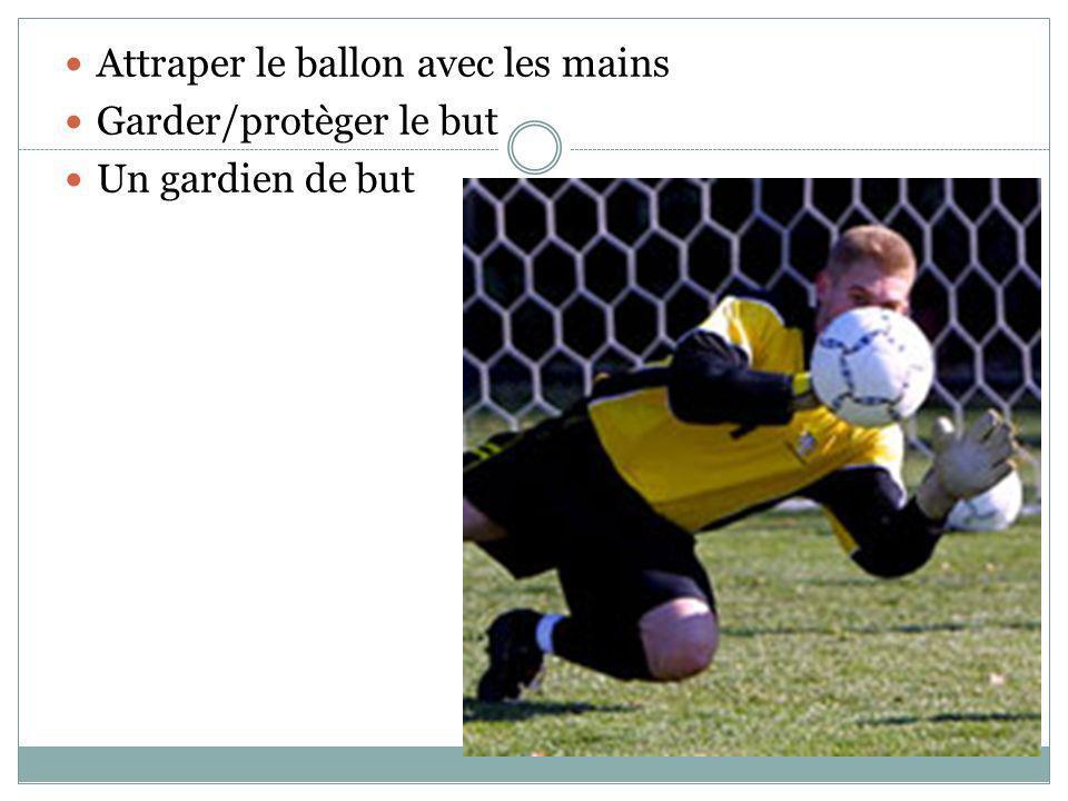 Attraper le ballon avec les mains Garder/protèger le but Un gardien de but