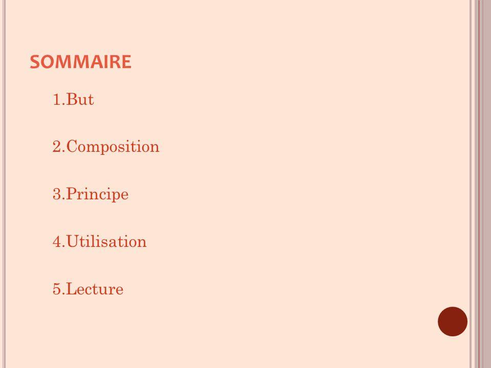 SOMMAIRE 1.But 2.Composition 3.Principe 4.Utilisation 5.Lecture