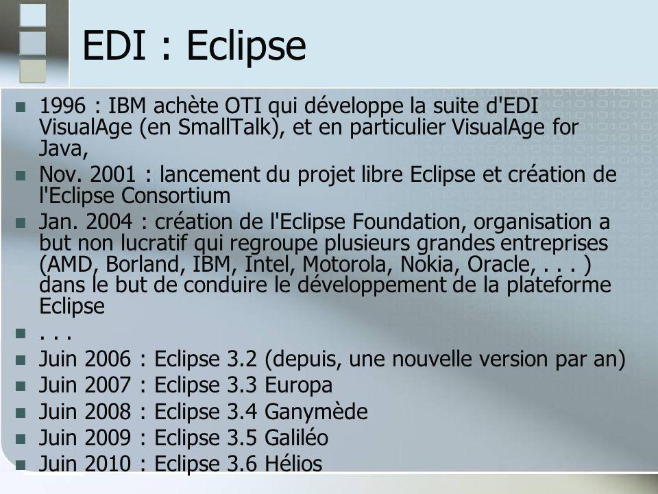 EDI : Eclipse 1996 : IBM achète OTI qui développe la suite d EDI VisualAge (en SmallTalk), et en particulier VisualAge for Java, Nov.