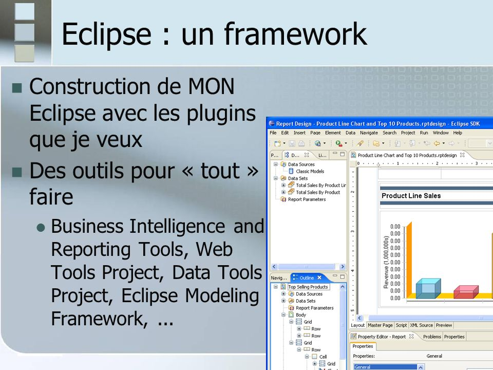 Eclipse : installation Installer un JDK, Sun JDK 6 Télécharger UN zip dEclipse [version, SE] Extraire larchive [ pas despace dans le chemin] Lancer lexécutable (eclipse ou eclipse.exe) Paramètres éventuels dans eclipse.ini Eg la machine virtuelle Java à utiliser : -vm C:\Program Files\Java\jdk1.6.X\bin\javaw