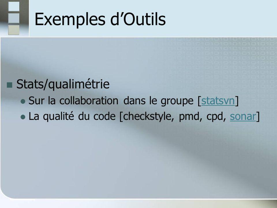Exemples dOutils Stats/qualimétrie Sur la collaboration dans le groupe [statsvn]statsvn La qualité du code [checkstyle, pmd, cpd, sonar]sonar