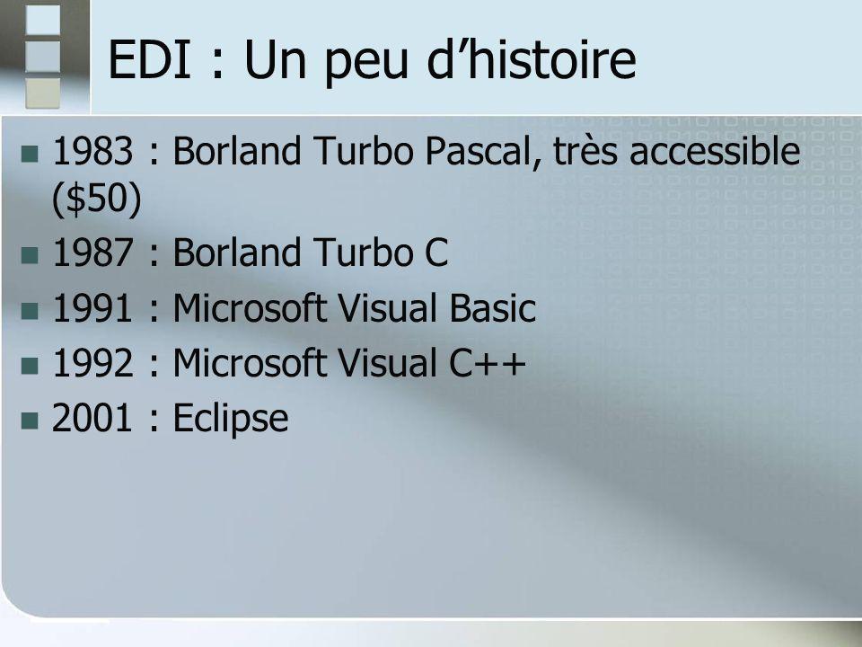 EDI : Un peu dhistoire 1983 : Borland Turbo Pascal, très accessible ($50) 1987 : Borland Turbo C 1991 : Microsoft Visual Basic 1992 : Microsoft Visual C++ 2001 : Eclipse