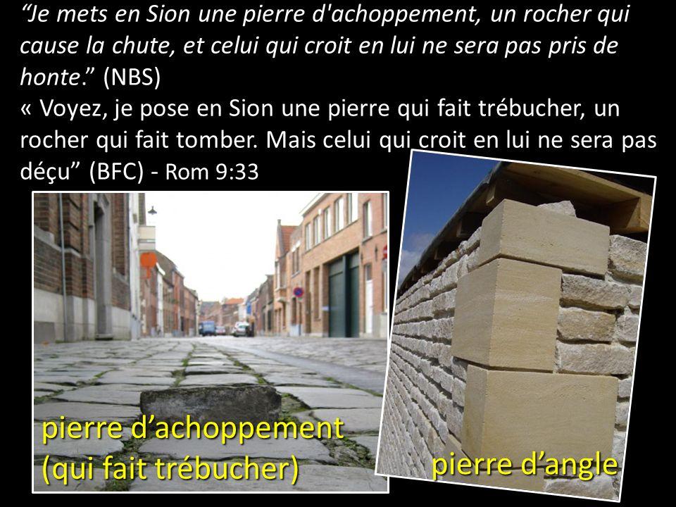 Je mets en Sion une pierre d'achoppement, un rocher qui cause la chute, et celui qui croit en lui ne sera pas pris de honte. (NBS) « Voyez, je pose en