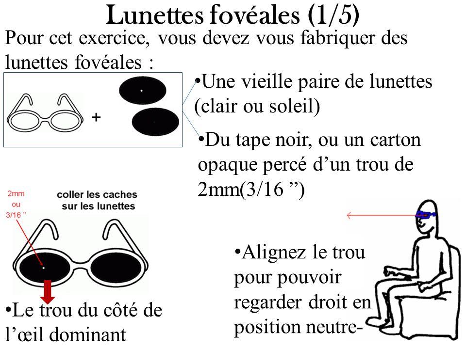 Alignez le trou pour pouvoir regarder droit en position neutre- Lunettes fovéales (1/5) Pour cet exercice, vous devez vous fabriquer des lunettes fové