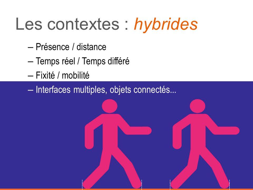 Les contextes : hybrides – Présence / distance – Temps réel / Temps différé – Fixité / mobilité – Interfaces multiples, objets connectés...