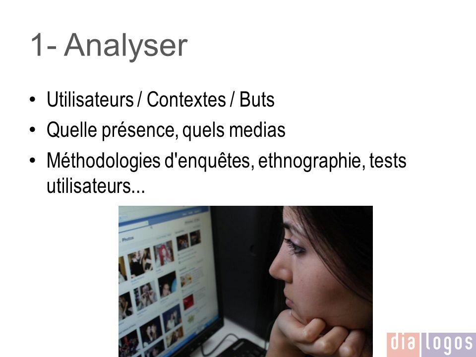 1- Analyser Utilisateurs / Contextes / Buts Quelle présence, quels medias Méthodologies d'enquêtes, ethnographie, tests utilisateurs...