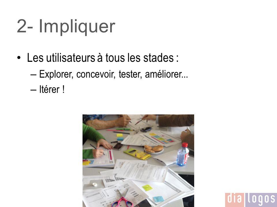 2- Impliquer Les utilisateurs à tous les stades : – Explorer, concevoir, tester, améliorer... – Itérer !