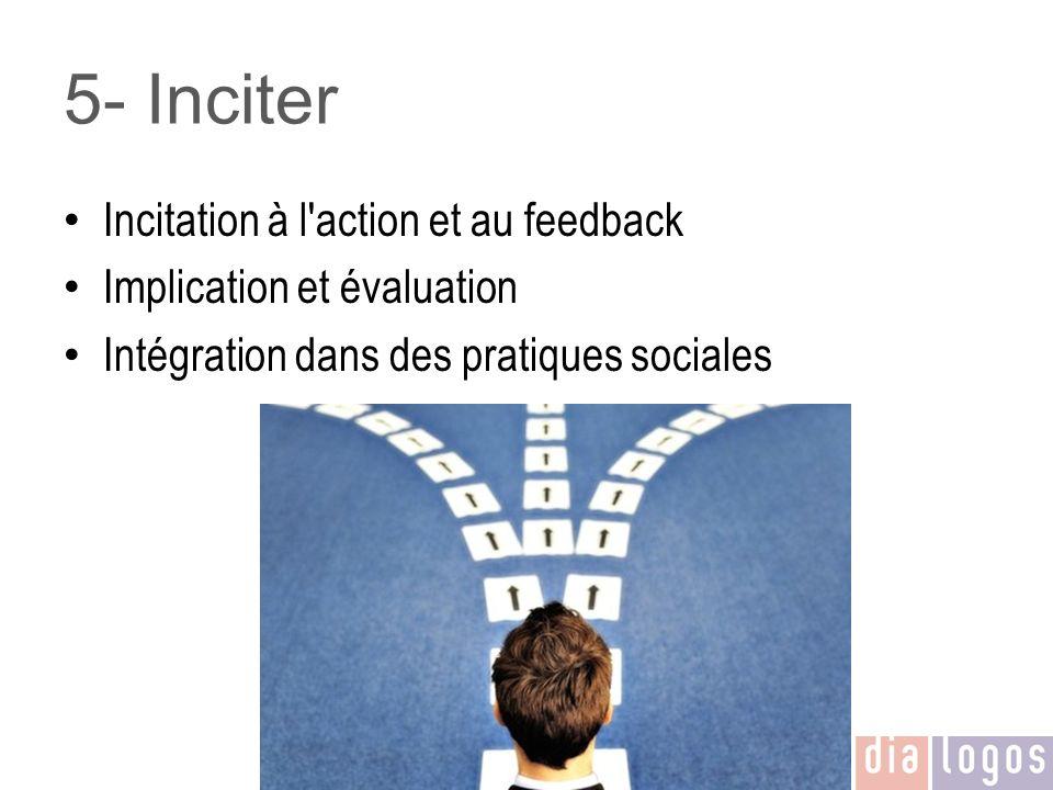 5- Inciter Incitation à l'action et au feedback Implication et évaluation Intégration dans des pratiques sociales