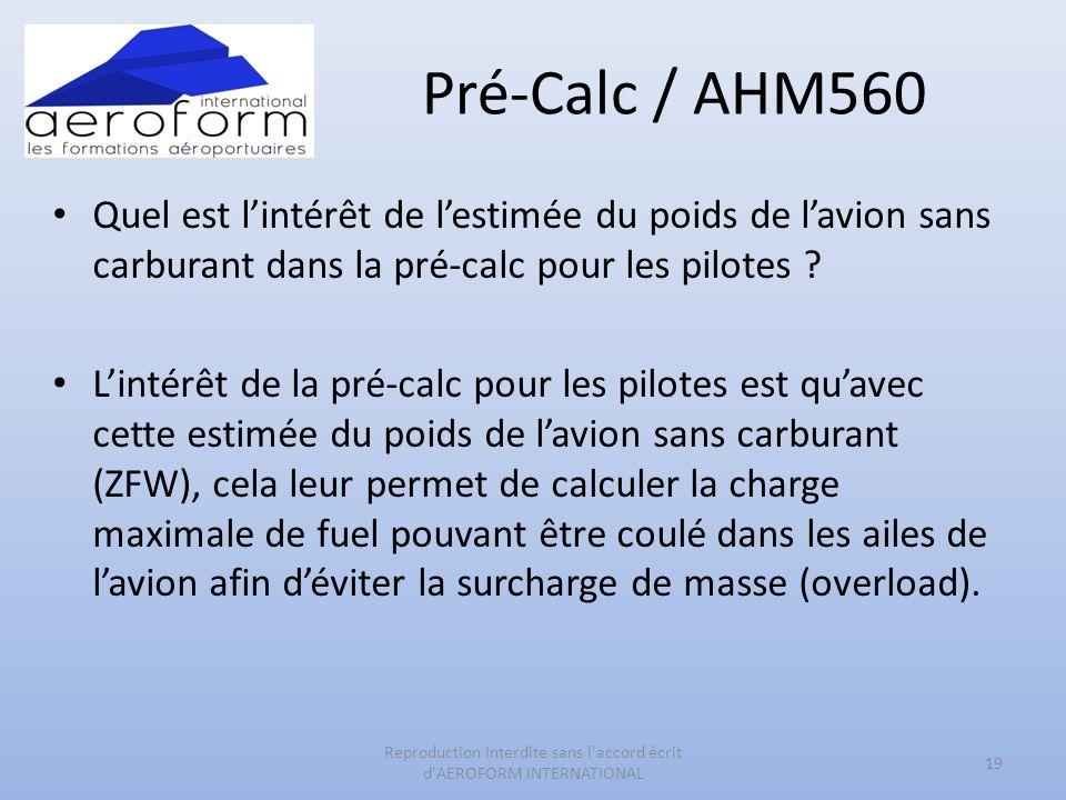 Pré-Calc / AHM560 Quel est lintérêt de lestimée du poids de lavion sans carburant dans la pré-calc pour les pilotes ? Lintérêt de la pré-calc pour les