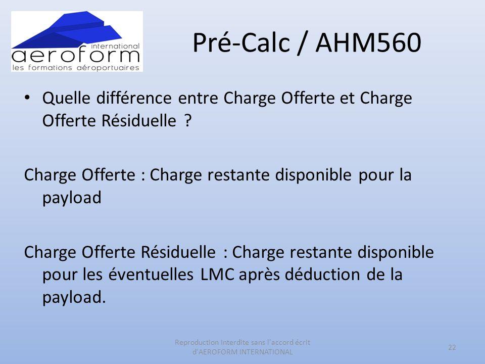 Pré-Calc / AHM560 Quelle différence entre Charge Offerte et Charge Offerte Résiduelle ? Charge Offerte : Charge restante disponible pour la payload Ch